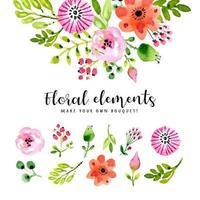 folhas e flores em aquarela isoladas vetor