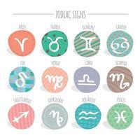 coleção de sinal circular bonito do zodíaco estampado vetor