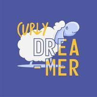 design de vestuário com ovelhas e texto sonhador encaracolado