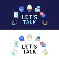 vamos conversar tipografia com ícones coloridos redondos de comunicação