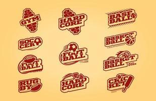 conjunto de logotipo esporte monocromático estilo retro