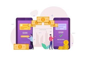 transferência de dinheiro online recebida em telefones celulares vetor