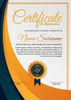laranja, azul certificado de agradecimento vetor