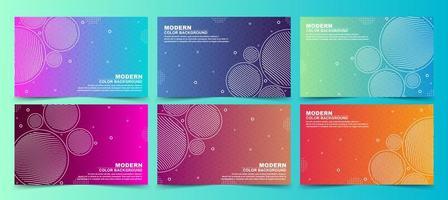 banners de gradiente de círculo de linha colorida vetor