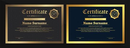 modelos de certificado preto, dourado e bronze