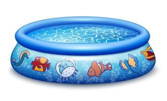 piscina inflável azul realista com design de animais do mar vetor