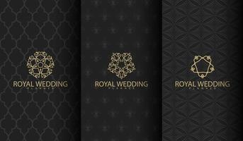 padrão de luxo escuro com ornamentos de ouro