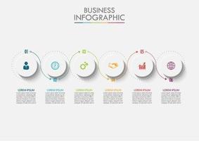 Modelo de infográfico de negócios circular de 6 etapas vetor