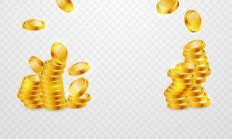 pilhas de moedas de ouro para cassino