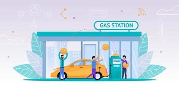 carro de reabastecimento de pessoas no posto de gasolina vetor