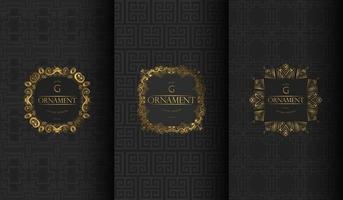 conjunto de padrões de luxo vintage preto e cinza vetor