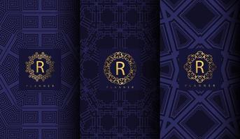 conjunto de luxo azul padrão vetor