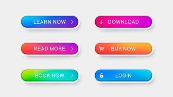 botões de gradiente na moda para web design vetor