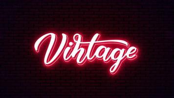 letras de néon desenhada mão vintage