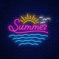sinal de verão neon vetor