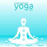cartaz do dia internacional da ioga com tema de água vetor