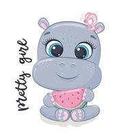 hipopótamo bebê fofo