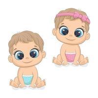 lindo bebê menina e menino. vetor