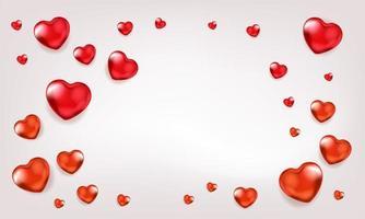 fundo com balões de coração vermelho vetor