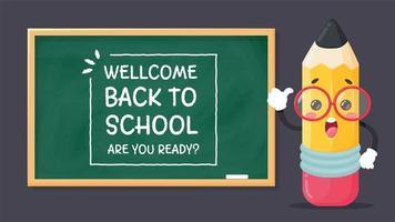 lápis e bem-vindo de volta à lousa da escola vetor