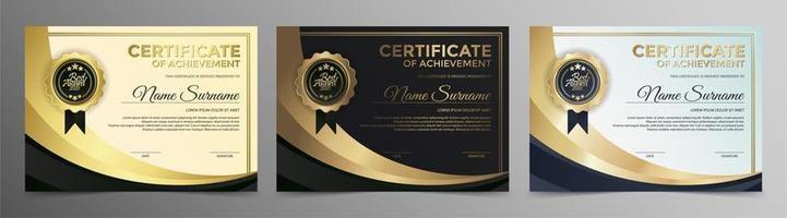 melhor conjunto de diploma de premiação vetor