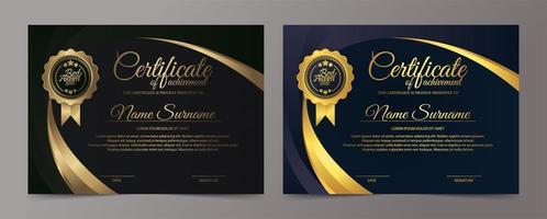 fronteira de certificado azul e ouro vetor