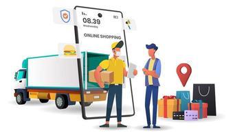 compras on-line no conceito de entrega de caminhão de aplicativo móvel vetor