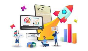 conceito de compras e pesquisa on-line vetor