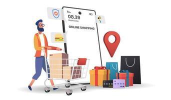 aplicativo de compras online e homem empurrando o carrinho vetor
