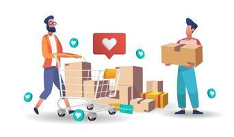 homens com pacotes e carrinho de compras vetor