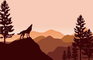 silhueta de lobo e pinheiros