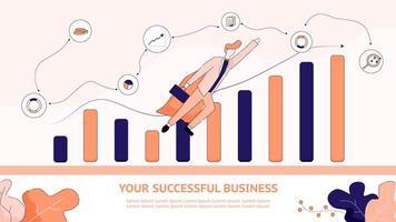 design para negócios de sucesso com o homem decolando vetor