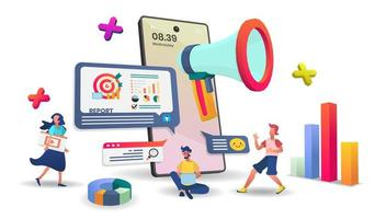 suporte ao cliente de aplicativo móvel on-line e conceito de pesquisa vetor