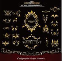 conjunto de vários elementos decorativos de ouro vetor