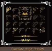 conjunto de padrão decorativo de canto dourado vetor