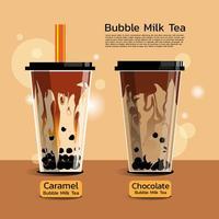 dois sabores de chá com leite com bolhas vetor