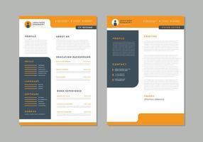 currículo laranja e carta de apresentação vetor