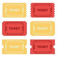 bilhetes de amarelos e vermelhos em branco vetor