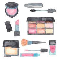 conjunto de itens de maquiagem em aquarela e elementos de cuidado de pele vetor