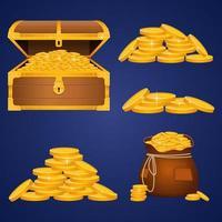 baú do tesouro e moedas de ouro vetor