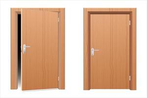 porta moderna de madeira isolada no branco vetor