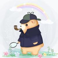 detetive urso fora vetor