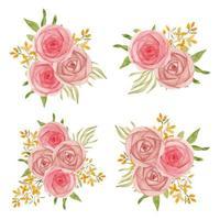 coleção de buquê floral rosa aquarela vetor
