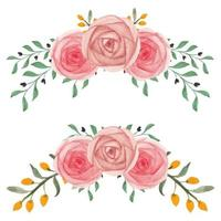 aquarela mão pintada conjunto de arranjo floral curvado rosa