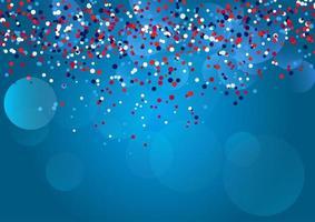 confete vermelho, azul e branco. vetor
