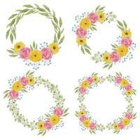decoração de grinalda de flores de peônia aquarela definida na cor rosa amarela vetor