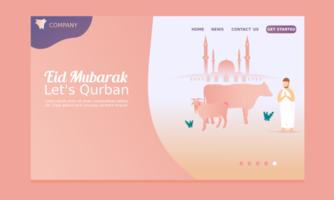 feliz eid mubarak landing page com mesquita vetor