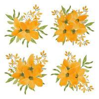 conjunto de arranjo de flores de pétala amarela aquarela vintage vetor