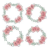 conjunto de grinalda floral flor de cerejeira vetor