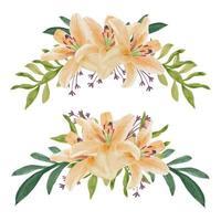 conjunto de buquê de curva de flor de lírio aquarela pintada à mão vetor